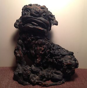 Antique Chinese Burl Wood Foo Dog Carving