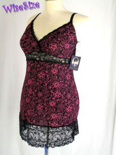 Delta Burke Lingerie Slip Nightgown Black Rose Pink Floral Sleep Dress