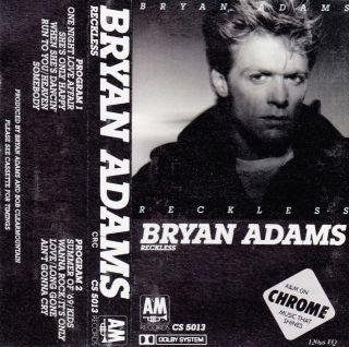 Reckless Bryan Adams Cassette 1984 A M In 075021501348