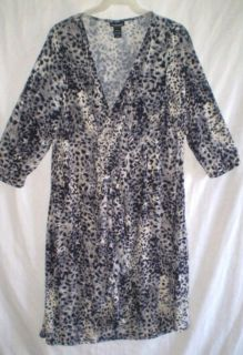 Plus Lane Bryant Stretchy Knit Black Animal Print 3 4 Sleeve Dress 22