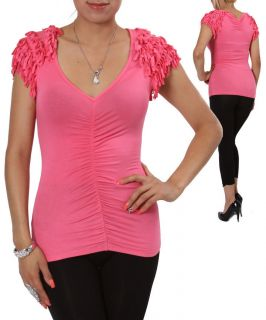 BUBBLEGUM PINK V Neck Shirt FRINGE Shoulder Top STRETCH Blouse SEAM