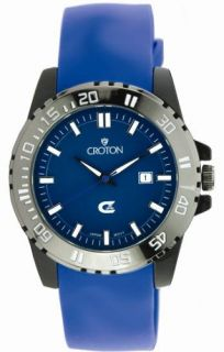 Croton Mens Blue Dial and Rubber Sport Date Watch New