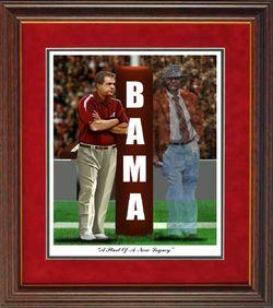 Alabama Football Saban Bear Goalpost Framed Print Pitts
