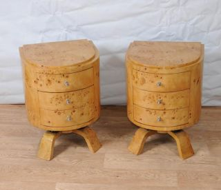 Pair Art Deco Bedside Chests Tables Chest Drawers Nightstands