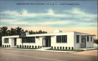 Fort Pierce FL Greyhound Bus Station Taxi Sign Postcard