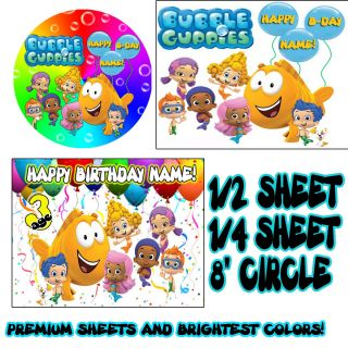 Bubble Guppies Sugar Edible Birthday Cake Topper Image Frosting Sheet