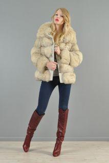 Vtg 70s Arctic Fox Fur Shaggy Bubble Leather Boho Chubby Leather Coat