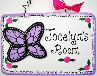 6x9 Personalized BUTTERFLY Room Door SIGN Girl Decor Name Wall Plaque