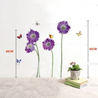 Purple Flower Butterfly Removable Quote Vinyl Room Wall Decals