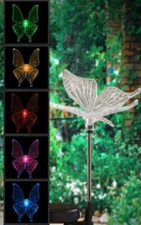 Solar Butterfly Garden Yard Decor Stake Multi Color Changing LED Light