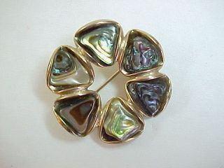 Vintage Sterling Silver Abalone Shell BUTTERFLY PIN Brooch  Signed 925