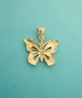 10K Solid Yellow Gold Butterfly Charm 7 8