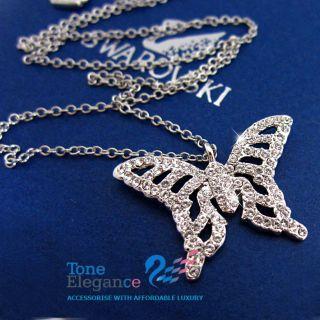 18K White Gold GF Genuine Swarovski Diamond Butterfly Solid Womens