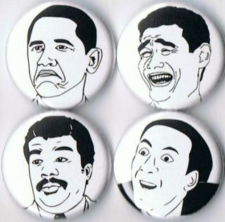 Rage Comic Pins Buttons Badges You DonT Say NIC Cage Obama not Bad