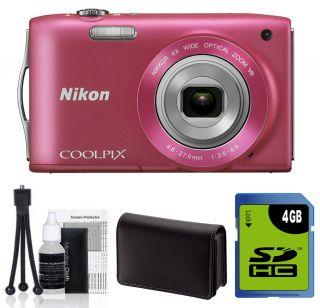 NIKON Coolpix S3300 Digital Camera PINK 4GB Kit NIKON USA WARRANTY
