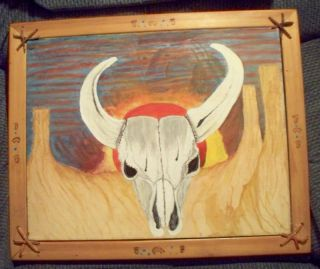 Original Southwest Steer Buffalo Skull Folk Art Acrylic Painting