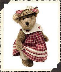 """Boyds Prudence Bearimore 12"""" Bear Straw Hat Dress"""