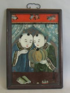Fine 19th C Chinese Reverse Glass Painting of Young Twin Boys C 1870