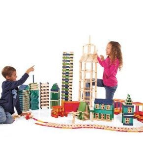 Eco Friendly Wooden 100 Piece Building Blocks Set in Hot Colors