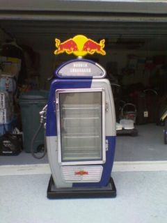 RED BULL GAS FUEL PUMP REFRIGERATOR WOW L K MAN CAVE ITEM REALLY RARE