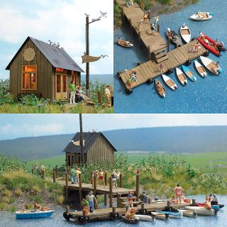 HO Busch 1 87 BOAT RENTAL Building KIT with Wharf for Lake Diorama