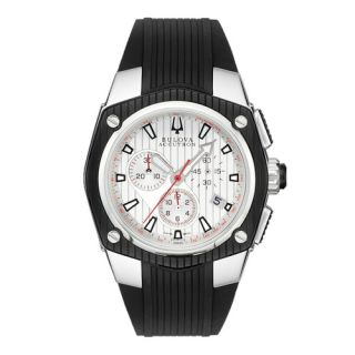 New Bulova Accutron Mens Corvara Rubber Analog Chronograph Quartz