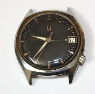 BULOVA ACCUTRON Mens Wrist Watch Model 218D Black Face Parts or Repair