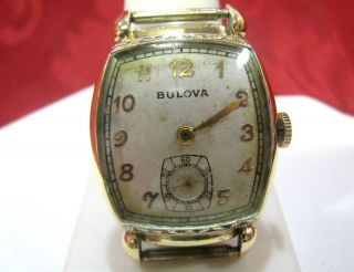 10K Bulova Rolled Gold Plate Bezel Wrist Watch Work
