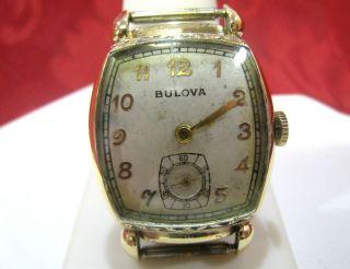 10K Bulova Rolled Gold Plate Bezel Wrist Watch Work