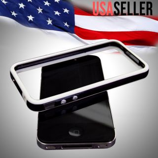 White Black Hard Bumper Case Cover W/ Metal Buttons For Apple iPhone 4