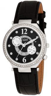 Burgi BUR045BK Swiss Diamond Classic SS Day Date Womens Watch