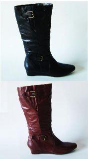 Bandolino Burke Ladies Black Cognac Leather Knee High Boots Shoes Size