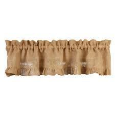 New Primitive French Country Fall BURLAP RUFFLED VALANCE Curtain