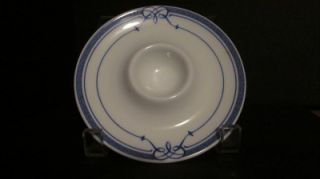 Bernardaud China Porcelain Cafe Paris Egg Cup / Plate, Blue & White