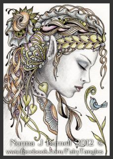 Original ACEO Art Sketch Card Fairy Tangles™ by NJB Art Fairies