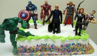 Avengers Birthday Cake Topper w Hulk, Captain America, Iron Man, Thor