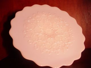 Milk Glass Spanish Lace Pink Cake Stand Mint Condition 1950S