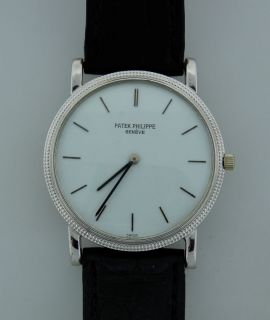 Vintage Patek Philippe Calatrava 18K White Gold Mens Watch Blk