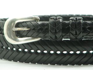 Cale Black Herringbone Weave Woven Leather Belt Mens 44