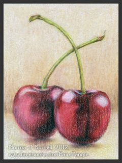 ACEO Original Sketch Card Color Pencil Still Life Painting 2 Cherries