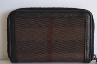 NWT BURBERRY BARK BROWN BURNHAM HOUSE NOVA CHECK ZIP AROUND COIN PURSE