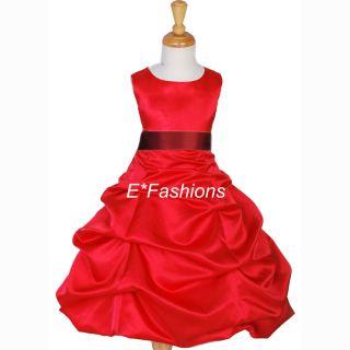 Red Burgundy Brides Flower Girl Dress 4 6 8 10 12 14 16