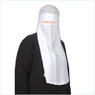 White 1 Layer Niqab Veil Burqa Islamic Dress Islam Hajj