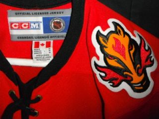 MENS M EC VTG CALGARY FLAMES NHL HOCKEY JERSEY SWEATER SHIRT CCM