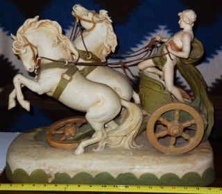 HUGE AUSTRIAN ROYAL DUX PORCELAIN CHARIOT STATUE (19 th Century Piece