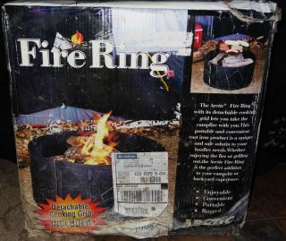 NEW Arctic Portable Cast Iron Campfire Pit Ring with Cooking Grill