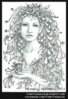Original ACEO Fantasy Sketch Card Fairy Birds Fairies Zentangle by NBJ