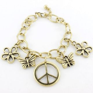 New Gold Tone Peace Sign Butterfly Flower Bracelet