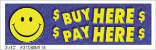 "3x10ft ""Buy Here Pay Here"" Dealer Banner Signs"