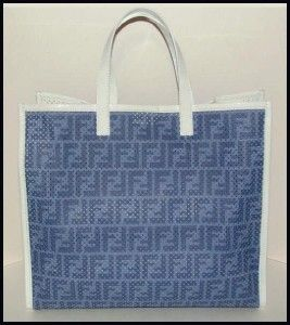 Blue White Perforated Shopping A Busta Zucca Tote 8BH235 New